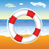 Live saver on the beach illustration Royalty Free Stock Image