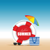 Live saver with hallo summer and beach bag illustration. In colorful Royalty Free Stock Image