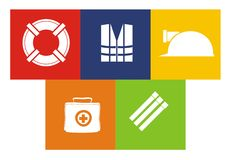 Live saver icon set. Containing illustration of various live safer icons Stock Image