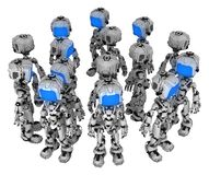 Live Screen Robot, Bunch. Screen robot figure character pose bunch close group, 3d illustration, horizontal, isolated