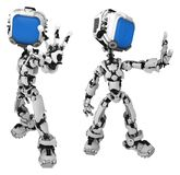 Live Screen Robot, Halt Pose. Screen robot figure character pose halt arm outstretched, 3d illustration, horizontal, isolated stock illustration