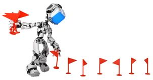 Live Screen Robot, Red Flag Put. Screen robot figure character pose placing red flag markers, 3d illustration, over white, horizontal, isolated
