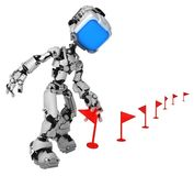 Live Screen Robot, Red Flag Take. Screen robot figure character pose set red flag markers taking one, 3d illustration, over white, horizontal, isolated