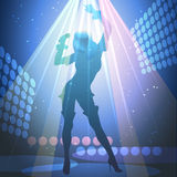 Live show. Illustration of young girl who sings on a concert stage during live show Royalty Free Stock Photography