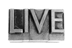 LIVE sign, antique metal letter type Royalty Free Stock Image