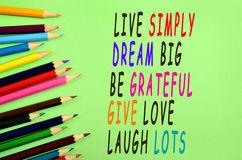 Live simply dream big Royalty Free Stock Photo