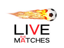 Live soccer football match with football burning fire logo Stock Images