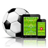 Live soccer online on mobile phone and tablet with team formation Royalty Free Stock Image
