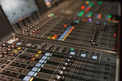 Live sound mixing console. Close up of live sound mixing console. Selective focus Royalty Free Stock Images