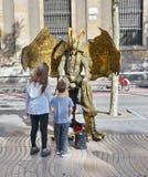 Live statue in La Rambla, Barcelona, Spain Royalty Free Stock Image