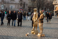 Live statues street artists perform on square Stock Photo