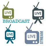Live stream. Abstract colorful illustration with live stream symbols on a white background Royalty Free Stock Images