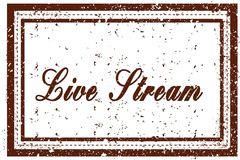 LIVE STREAM brown square distressed stamp. Illustration image Stock Images