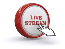 Live stream button. Red and white button with graphic live stream and web hand icon on white background Stock Images