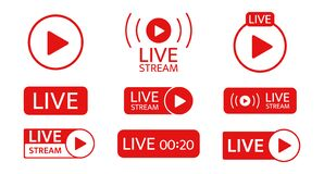 Free Live Stream Icon Set. Social Media Template. Live Streaming, Video, News Symbol On Transparent Background. Broadcasting Royalty Free Stock Photos - 178232698