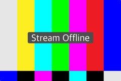 Live stream offline illustration. Live stream offline on a TV test pattern background vector illustration