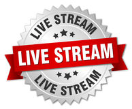 Live stream round isolated badge. Live stream round isolated silver badge Stock Images