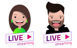 Live Stream sign With male and female avatar set. Royalty Free Stock Image