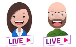 Live Stream sign with Man Woman Professor avatar set. Emblem, lo Stock Photo