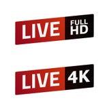 Live Stream sign set. FULL HD, 4K. emblem, logo. Color gradient. Stock Photography
