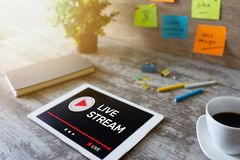 Live stream transmit or receive video and audio coverage over the Internet. Digital marketing and advertising concept. Live stream transmit or receive video and royalty free stock photography