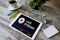 Live stream transmit or receive video and audio coverage over the Internet. Digital marketing and advertising concept. Live stream transmit or receive video and royalty free stock photo