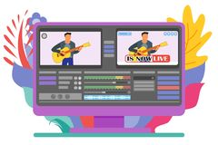 Live Stream Video Editor Computer Program vector illustration