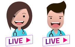 Live Stream white sign with Doctors avatar set. Royalty Free Stock Photography