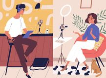 Free Live Streaming, Broadcast Flat Vector Illustration. Male And Female Social Media Network Bloggers Collaboration Royalty Free Stock Images - 160446239