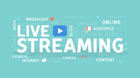 Live streaming concept. Live streaming concept illustration. Broadcast on internet Royalty Free Stock Images