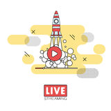 Live streaming concept. Stock vector illustration of broadcast on pause showing space shuttle launch Royalty Free Stock Photo