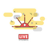 Live streaming concept. Stock vector illustration of broadcast on pause showing sunset or sunrise Stock Photos
