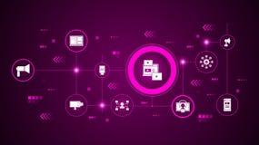 Live Streaming Icon Do mercado de Digitas, grupo da promoção ilustração do vetor