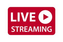 Live streaming icon vector symbol, isolated on white background. Button video player.  vector illustration