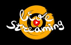 Live streaming logo design. Play button for news and TV or online broadcasting. Multimedia logo. Vector Stock Photos