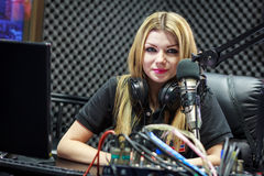 Live In Studio. Woman Working As Radio DJ Live In Studio Royalty Free Stock Photos