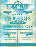 Live Summer Music flyer. Summer party live music flyer template Royalty Free Stock Image