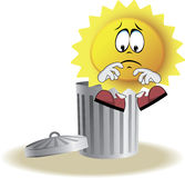 Live sun with face, arms and feet. Live sad sun with face, arms and feet for your summer design. It sits on trash bin. Vector illustration Stock Images