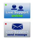 Live support. Customer live support signs for business websites: Live support is available & live support is offline Royalty Free Stock Photo