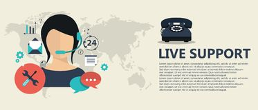 Live support banner. Business customer care service concept. Icons set of contact us, support, help, phone call and website click. Flat vector illustration stock illustration