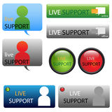 Live support buttons. Set of eight live support buttons for your website, isolated on white background. EPS file available