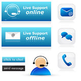 Live support icon set. With phone, e-mail and chat symbols Royalty Free Stock Photography