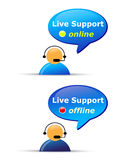 Live support website icons. Customer live support website icons showing the availability: Support online and Support offline. Eps file available Royalty Free Stock Images