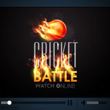 Live telecast with burning ball for Cricket Battle. Royalty Free Stock Images