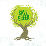 Live Think Green Recycle Reduce Reuse Vector Eco Poster Concept on Grunge Organic Background Royalty Free Stock Photography