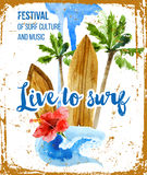 Live to surf poster in retro style Stock Photography