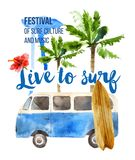 Live to surf poster in retro style. Live to surf watercolor poster in retro style Stock Images