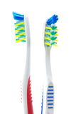 She and he, live togather. Two adult tooth-brush on the white background Royalty Free Stock Photos