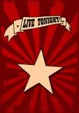 Live tonight. Vector poster design for a concert Stock Photos