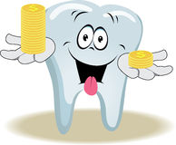 Live tooth with face, arms and eyes. For your medical and health design. It holds on his hands the stack of coins. Vector illustration Stock Images